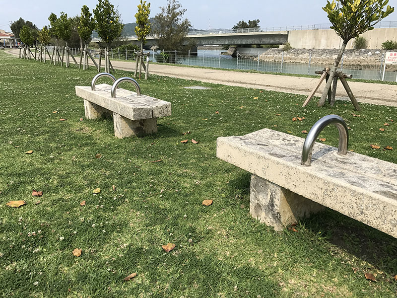 イルカ公園内のベンチ